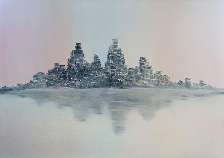 Gemälde, Abstrakt, Ölmalerei, Stadt, Licht, Malerei