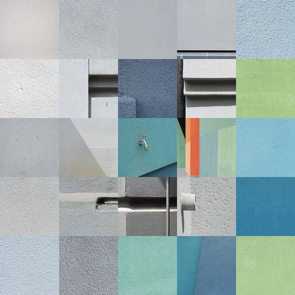 Quadrat, Gesicht, Collage, Quadratur der stadt, Fassade, Putz