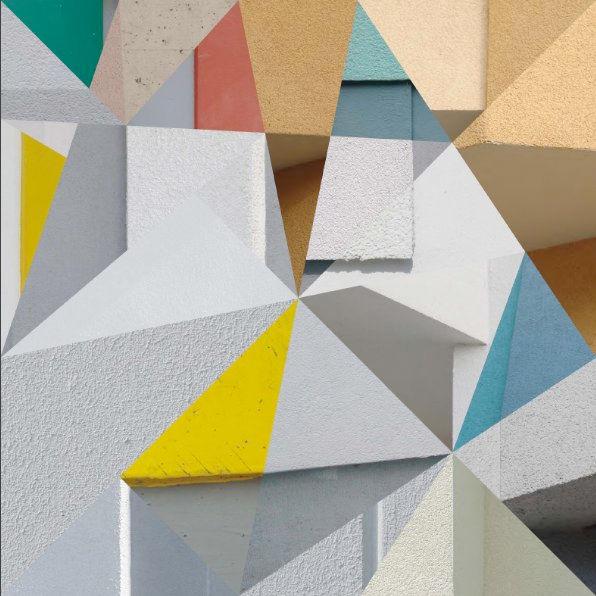 Putz, Berlin, Quadrat, Polyeder, Dreiecke, Farben