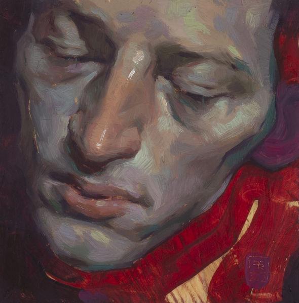 Jung, Kunstwerk, Ölmalerei, Selbstportrait, Portrait, Malerei