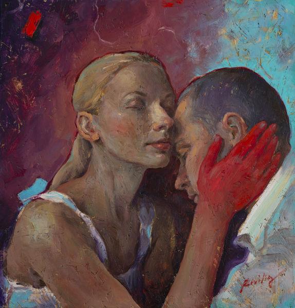Portrait, Malerei, Realismus, Jung, Frau, Kunstwerk