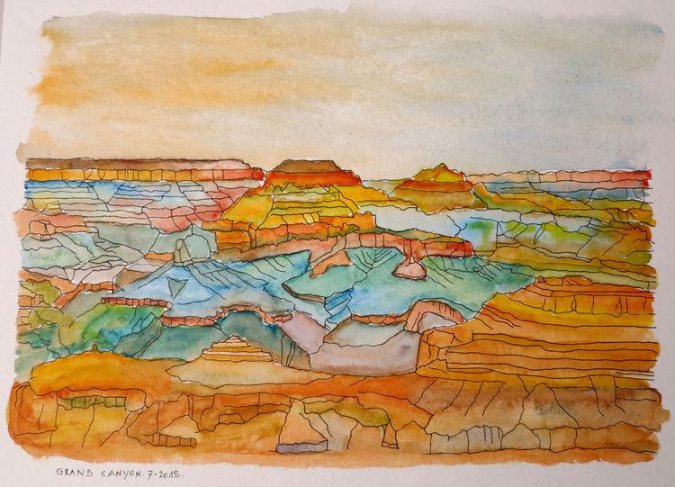Aquarellmalerei, 425 g, Papier hahnemühle, Aquarell, Nachmittag, Grand