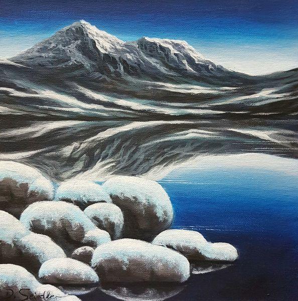 See, Bergsee, Wasser, Berge, Spiegelung, Malerei