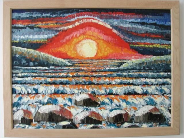 Meer, Brandung, Sonnenuntergang, Sonne, Malerei