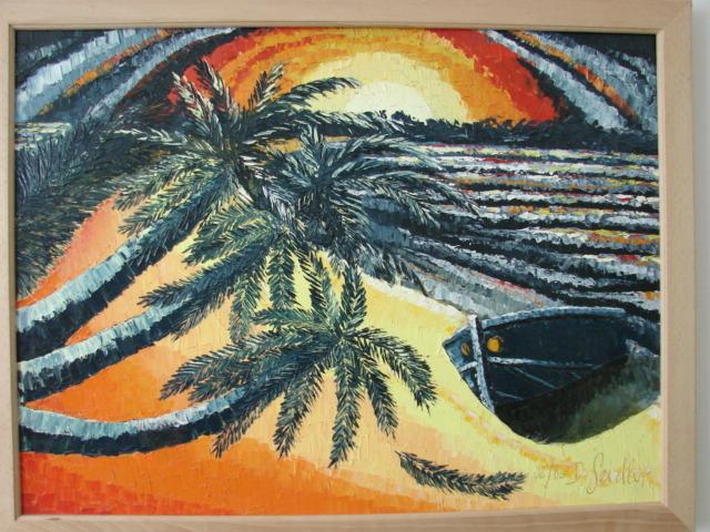 Meer, Boot, Palmen, Sonne, Malerei