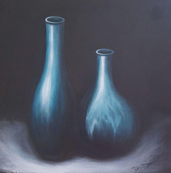 Vase, Schatten, Blau, Malerei