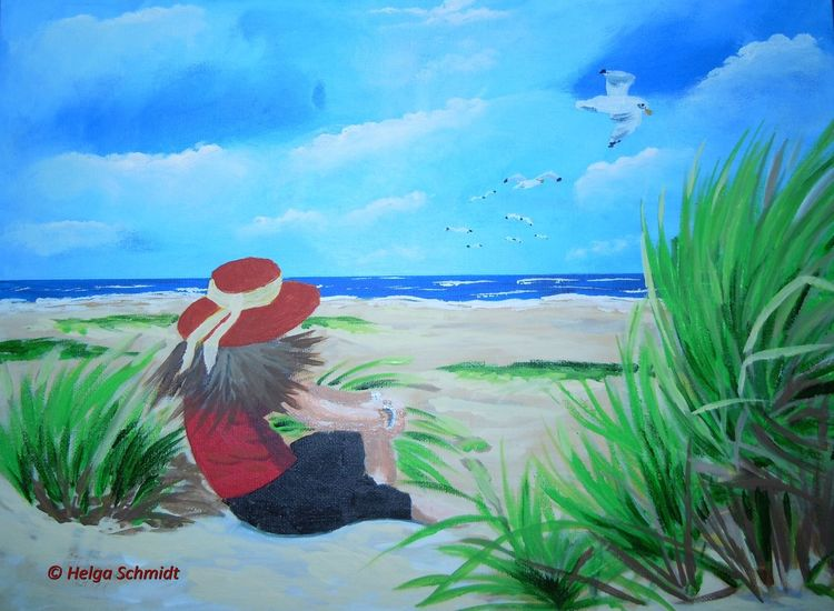 Acrylmalerei, Wasser, Landschaft, Meer, Malerei