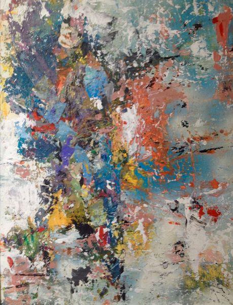 Blau, Gelb, Abstrakt, Malerei, Frühlingsgefühle