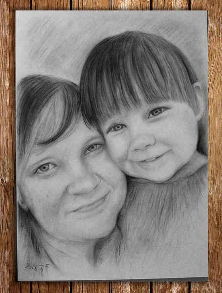 Zeichnung, Portrait, Kind, Frau, Kohlezeichnung, Mutter