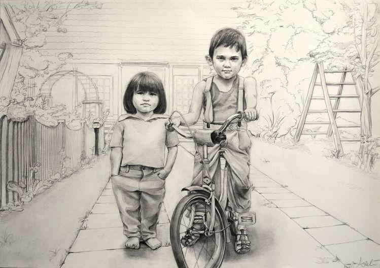Kinder, Fahrrad, Ausdruck, Zeichnungen