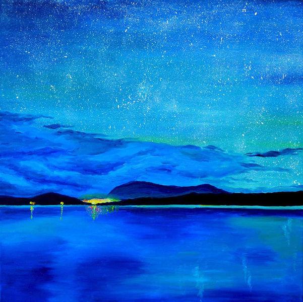 Ambiente, Abend, Landschaft, Nacht, Wasser, Stern