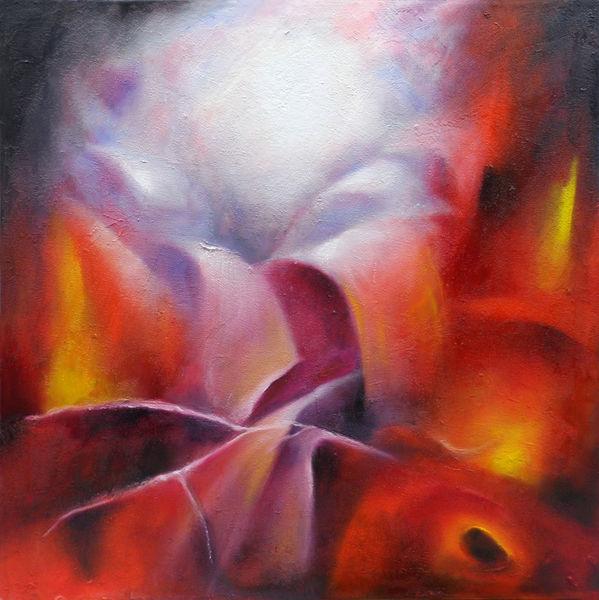 Licht, Abstrakt, Malerei, Geburt, Rot, Ölmalerei