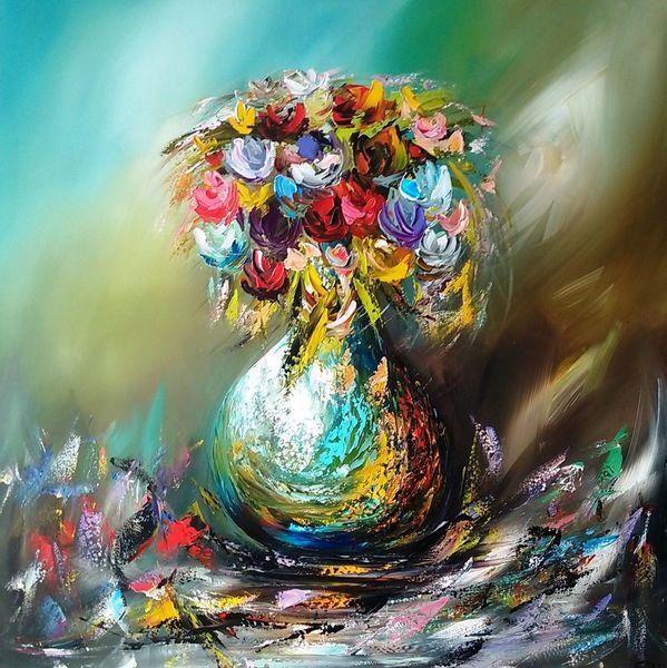 Abstrakt, Modern, Blumen, Malerei