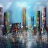 Blau, City skyline, 3d, Modern