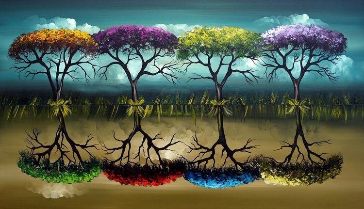 Natur, Jahreszeiten, Gemälde, Grün, Fantasie, Malerei