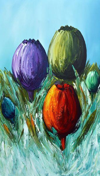 Acrylmalerei, Abstrakt, Tulpen, Gemälde, Malerei