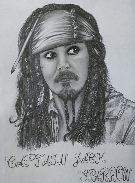 Bleistiftzeichnung, Zeichnung, Captain jack sparrow, Jack sparrow, Portrait, Karibik