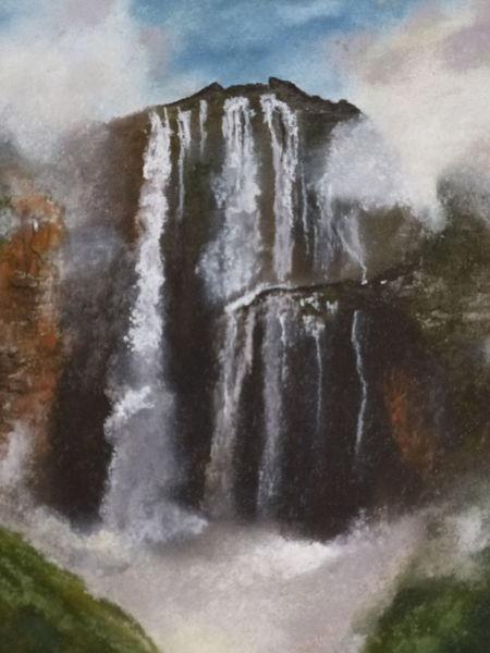Wasser, Landschaft, Malerei, Wasserfall