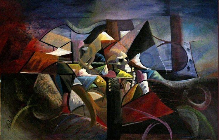 Bunt, Modern, Abstrakt, Malerei, Portrait