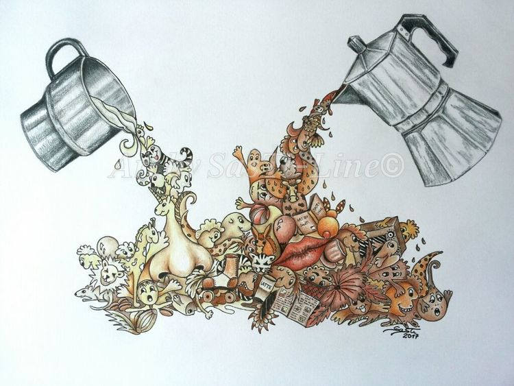 Coffee and milk, Ein genuss, Zeichnung, Surreal, Mixed, Mixed media