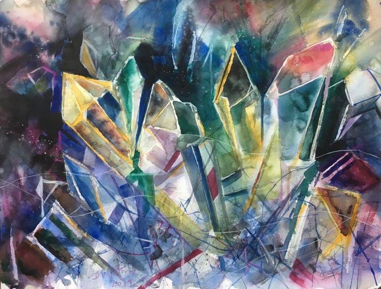 Modern, Kristall, Abstrakt, Aquarell