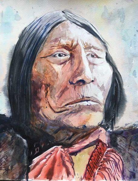 Indianer, Portrait, Wilder westen, Usa, Aquarell
