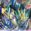 Abstrakt, Modern, Kristall, Aquarell