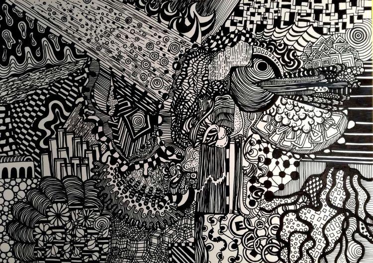 Schwarz, Weiß, Gekritzel, Zeichnung, Malerei, Leben