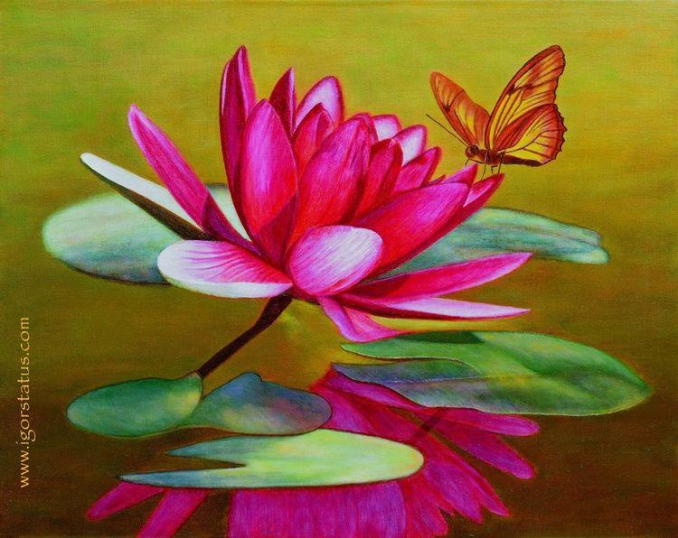 Wasser, Ölmalerei, Schmetterling, Natur, Teich, Pflanzen