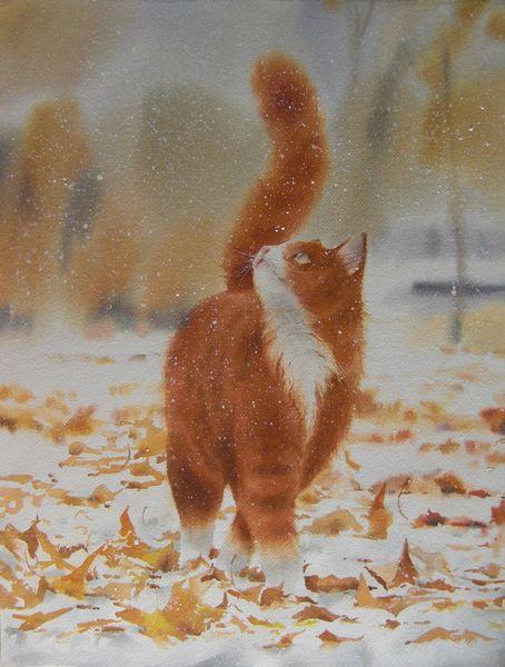 Natur, Herbst, Katze, Schnee, Aquarell