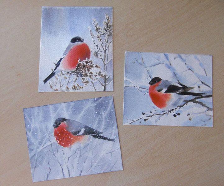 Schnee, Winter, Vogel, Aquarell
