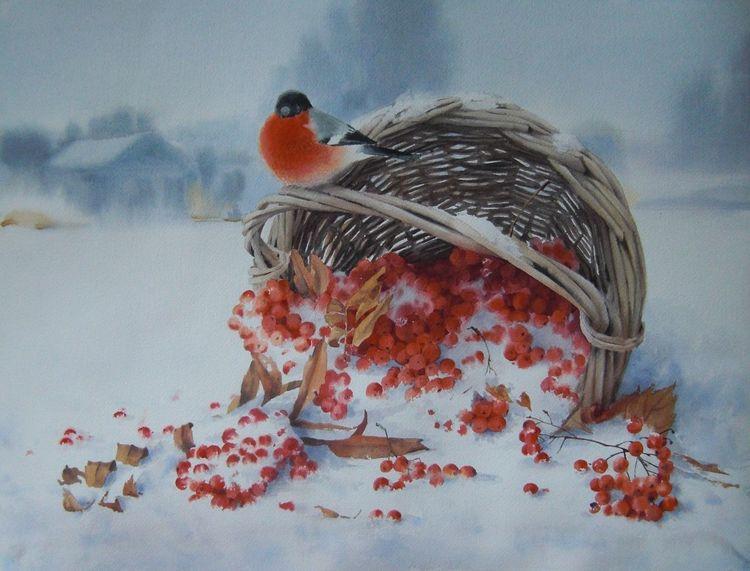 Winter, Vogelbeeren, Vogel, Schnee, Beere, Aquarell