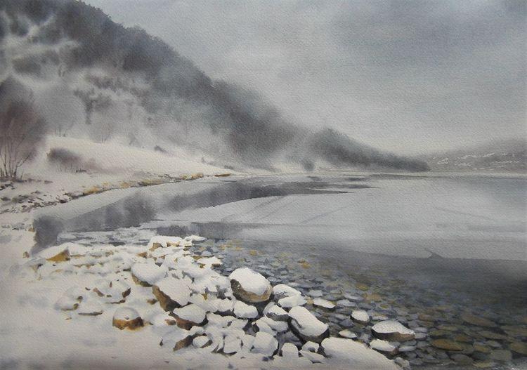 Landschaft, See, Natur, Winter, Schnee, Aquarell