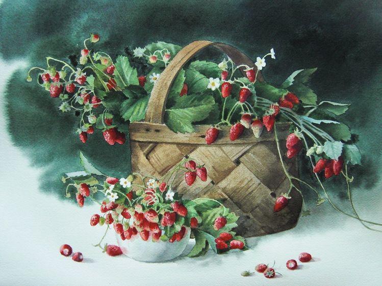 Stillleben, Erdbeeren, Korb, Aquarell