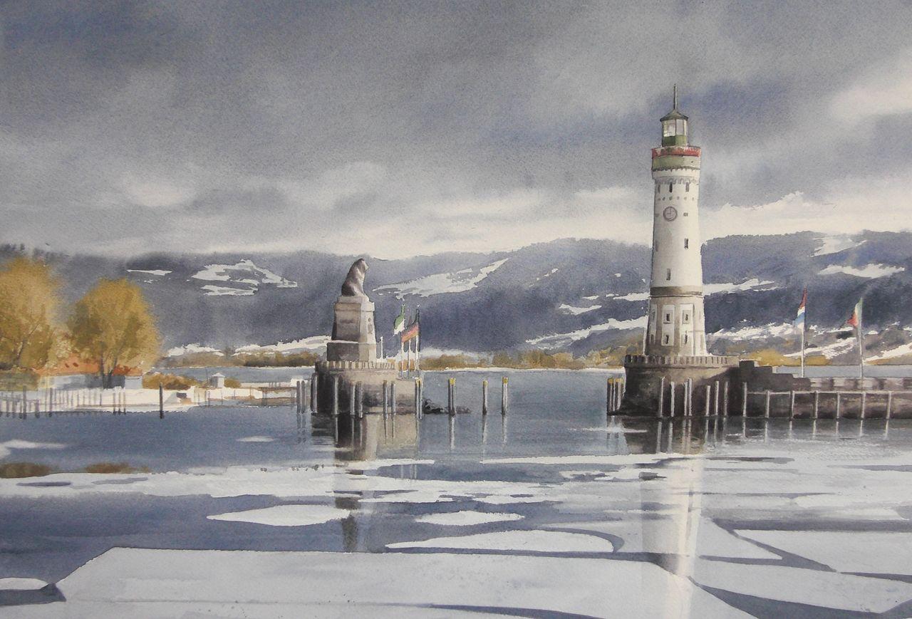 Lindau Lindau Bodensee Leuchtturm Aquarell Von Tatiana