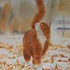 Schnee, Natur, Herbst, Katze