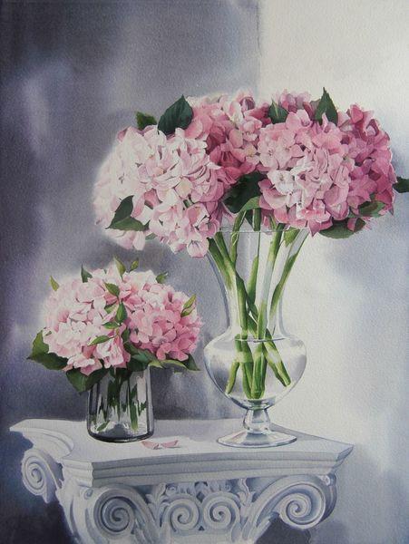 Hortensien, Stillleben, Blumen, Aquarell