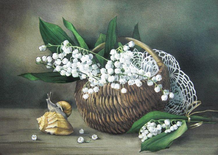 Stillleben, Schnecke, Korb, Maiglöckchen, Blumen, Aquarell
