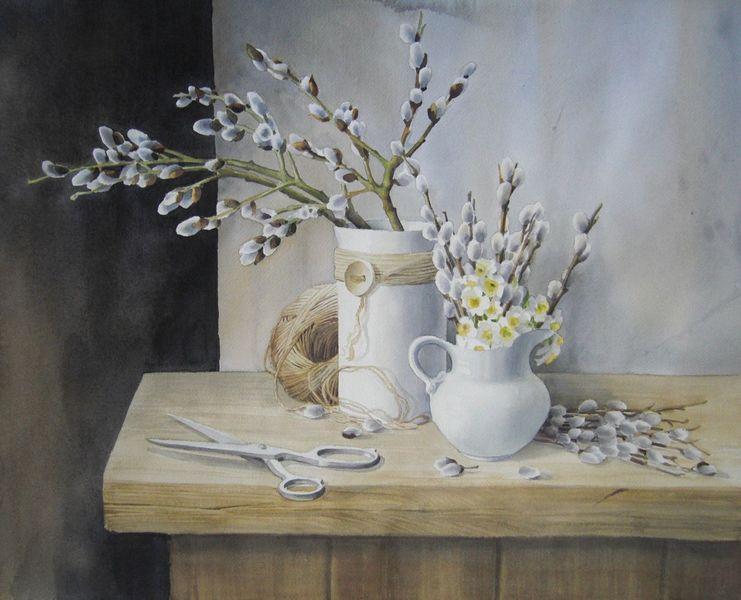 Stillleben, Zweig, Frühling, Aquarell, Weide