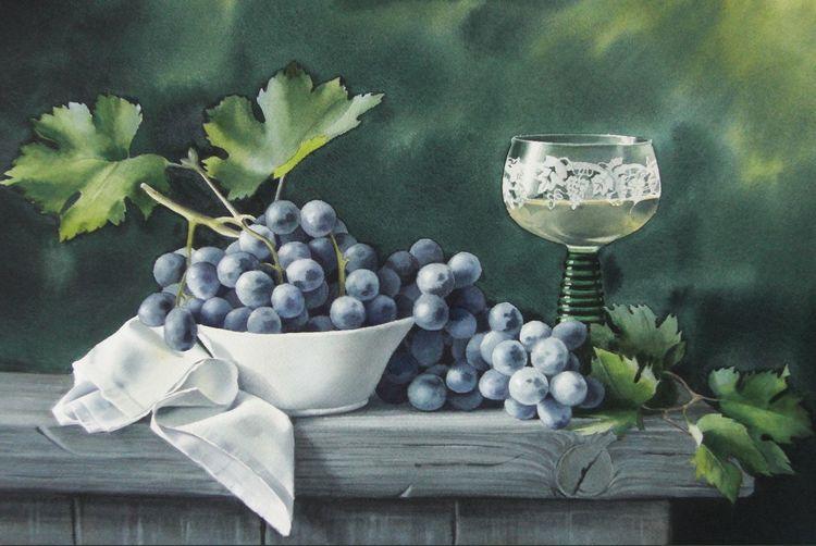 Natur, Stillleben, Weintrauben, Aquarell