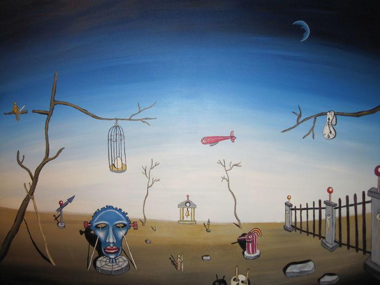 Fantasie, Flucht, Illusion, Acrylmalerei, Surreal, Landschaft