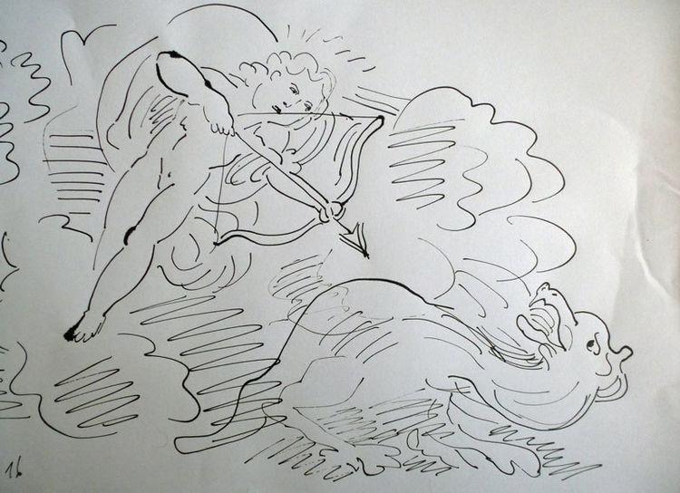 Amor, Drache, Engel, Zeichnungen