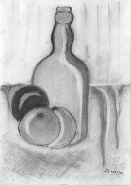 Obst, Flasche, Malerei