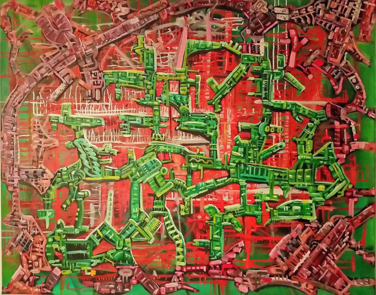 Gestisch, Rot, Ölmalerei, Grün, Abstrakt, Pinselstriche