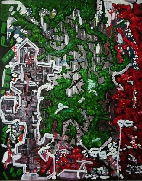 Ölmalerei, Gestisch, Weiß, Chaos, Rot schwarz, Grün