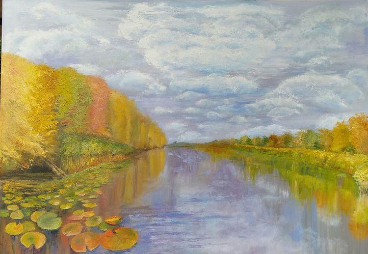 Herbst, Blätter, Fluss, Malerei,