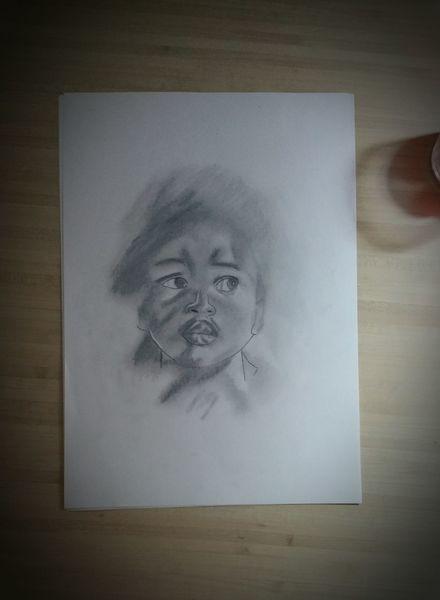 Schwarz, Portrait, Zeichnung, Bleistiftzeichnung, Zeichnungen,