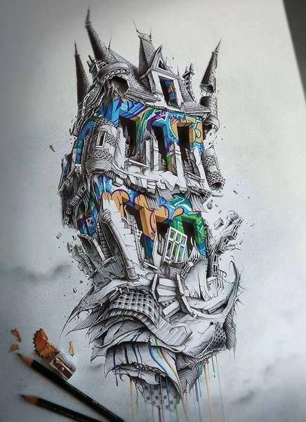 Abstrakt, Bleistiftzeichnung, Zeichnungen