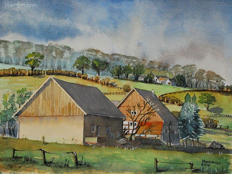 Windrather tal, Aquarellmalerei, Landschaft, Hof, Bauernhof, Aquarell