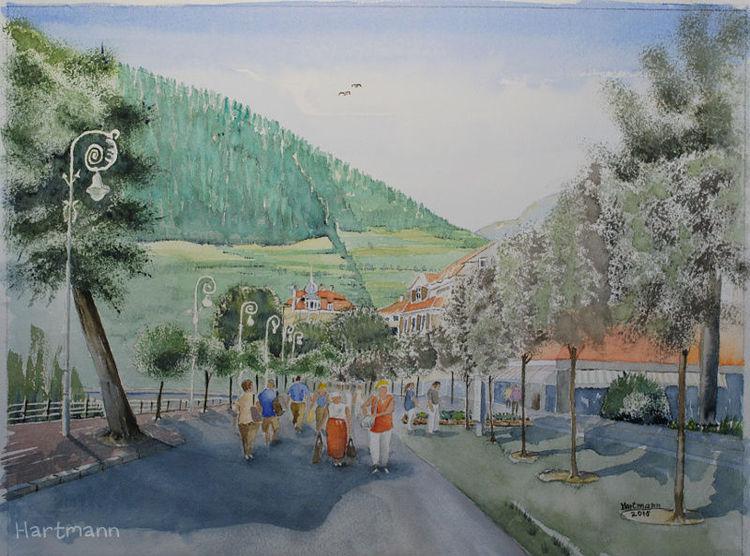 Südtirol, Schatten, Meran, Landschaft, Menschen, Baumreihe
